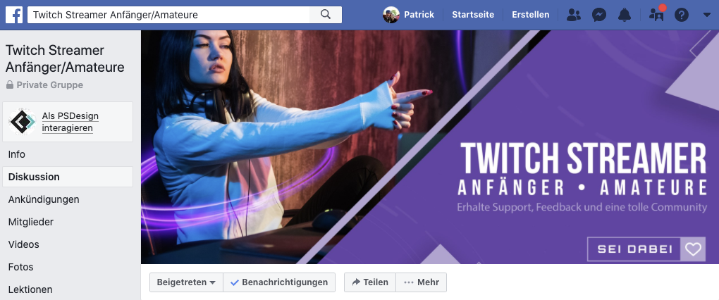 facebook streamer gruppe twitch 1   My Stream TV   Twitch Anfänger Guide